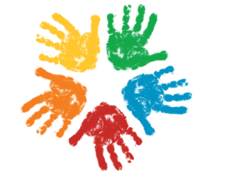5 colored handprints