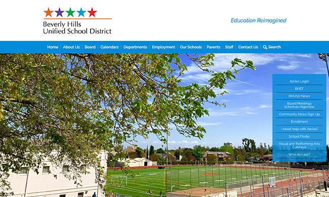 Beverly Hills Unified School District's website