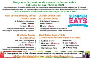 Summer 2021 meals information in Spanish. All information in this graphic is also in the body of the text.
