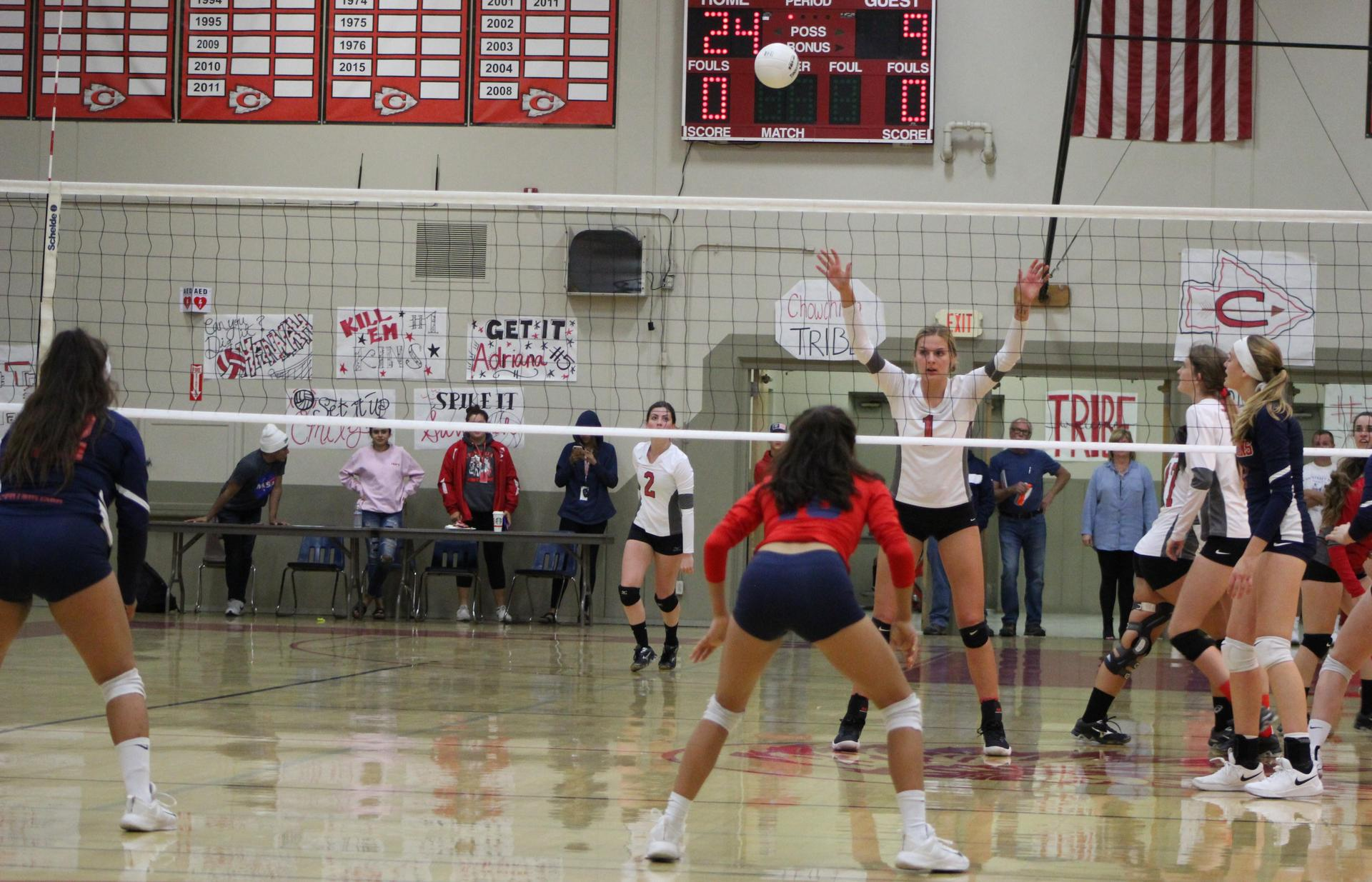 Girls playing volleyball against Strathmore