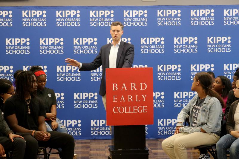 Louisiana School Superintendent John White speaks to KIPP Renaissance/Bard College students