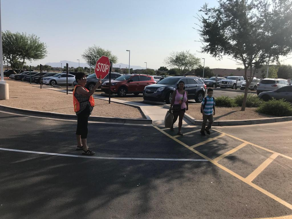 Students at crosswalk
