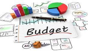 Word BUDGET surrounded by charts and graphs