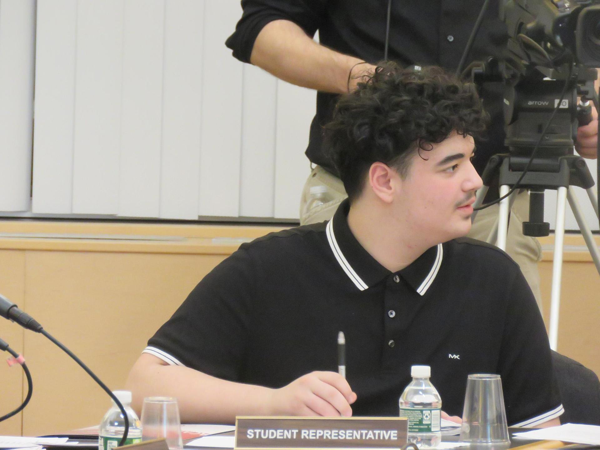 Close-up of the EHS student rep to the school committee