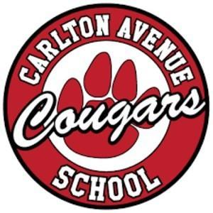 Red and White with black letters school logo Carlton Avenue School Cougars