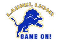 A lion is on his hind legs growling.  Laurel Lion's theme is Game on!