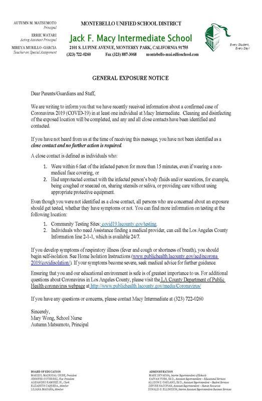 General Exposure Notice