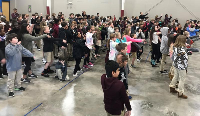 Clarkdale Elementary students exercising.