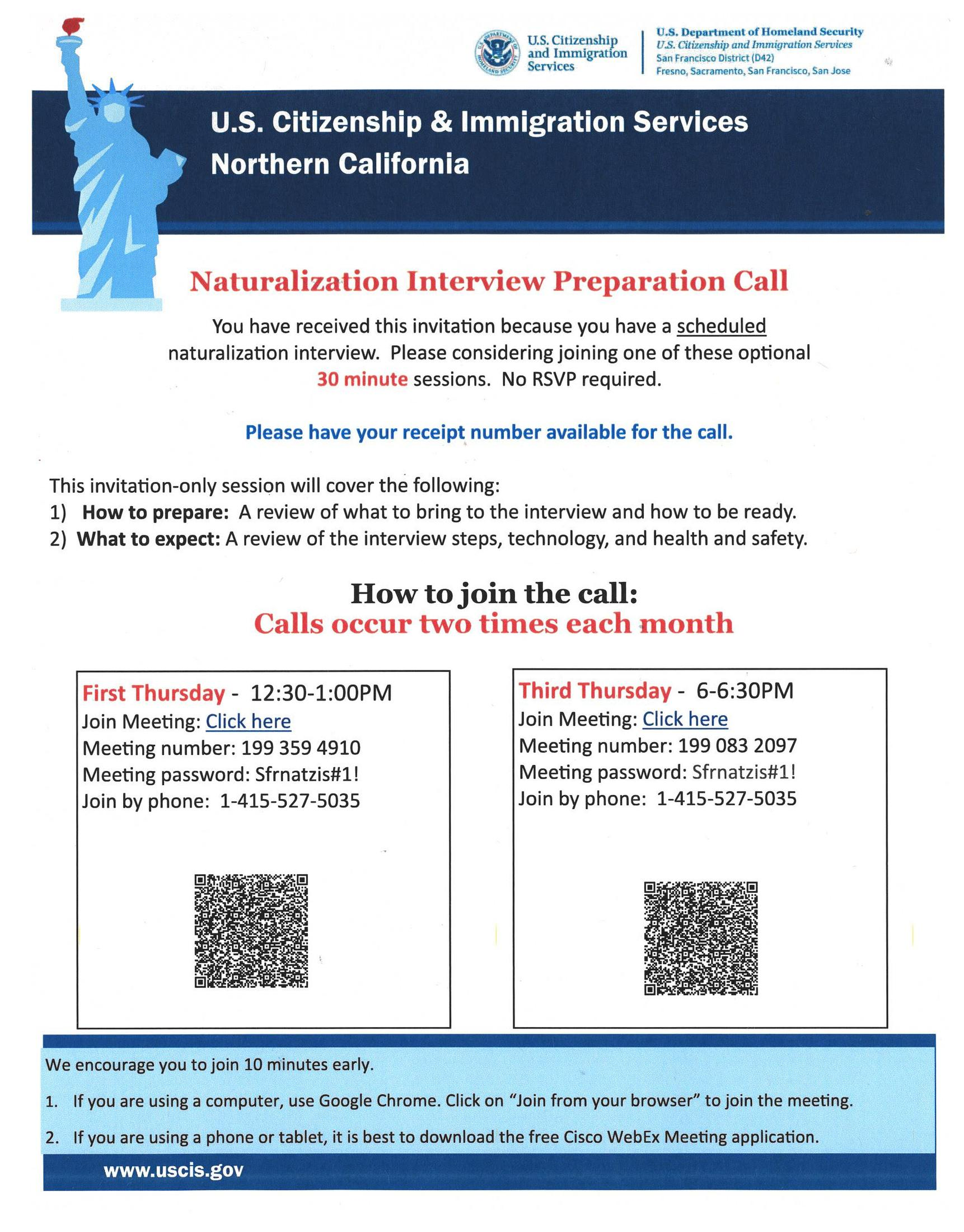 USCIS Interview Prep Call Poster. To find out how to prepare for an Interview at San Francisco.