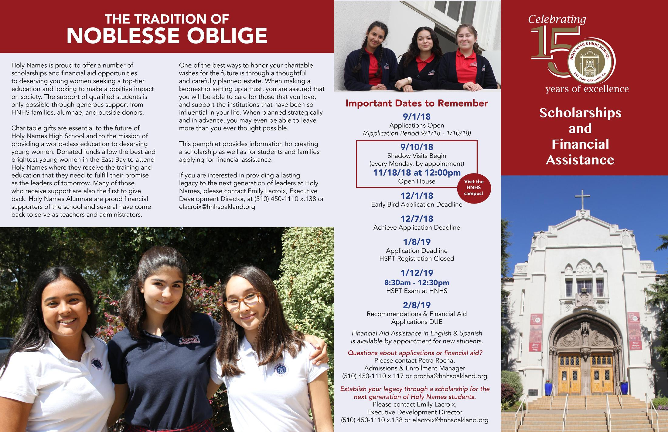 Scholarships Admissions Holy Names High School