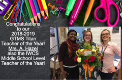 Mrs. Hazel IWCS Division Middle Level Teacher of the Year