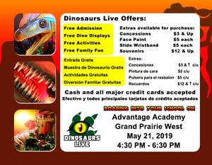 Dinosaurs Live! Additional costs.