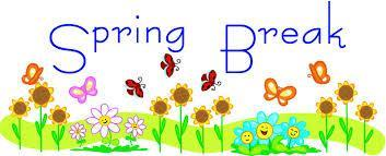 spring break sign with flowers grass bees and butterflies