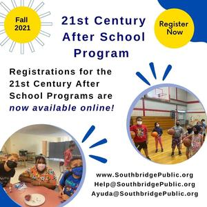 Graphic about after school program registration. All wording in the graphic is also in the body of the post.