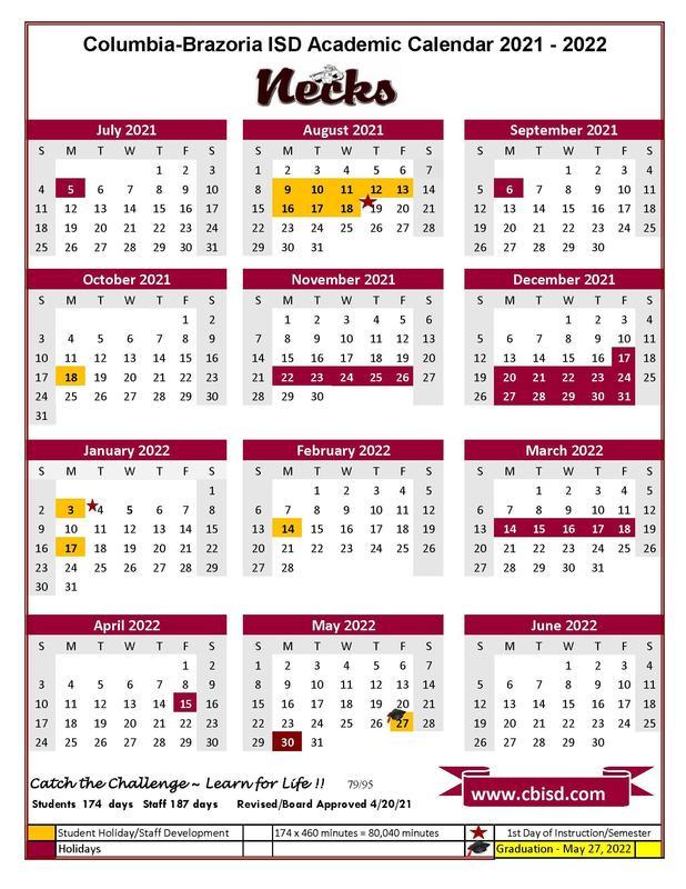 CBISD 2021 calendar