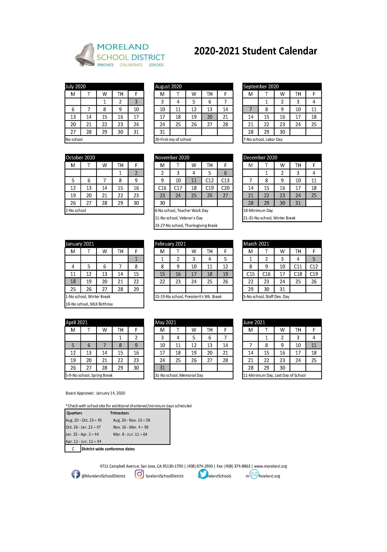 Student Calendars – News & Events – Moreland School District