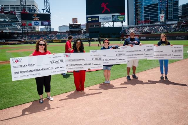 Congratulations to B-L Elementary School teacher Lynette Paxton (center) on being named a 2019 Atlanta Braves Most Valuable Teacher.  Mrs. Paxton was recognized on the field at the April 28th Atlanta Braves game in Atlanta, Georgia.