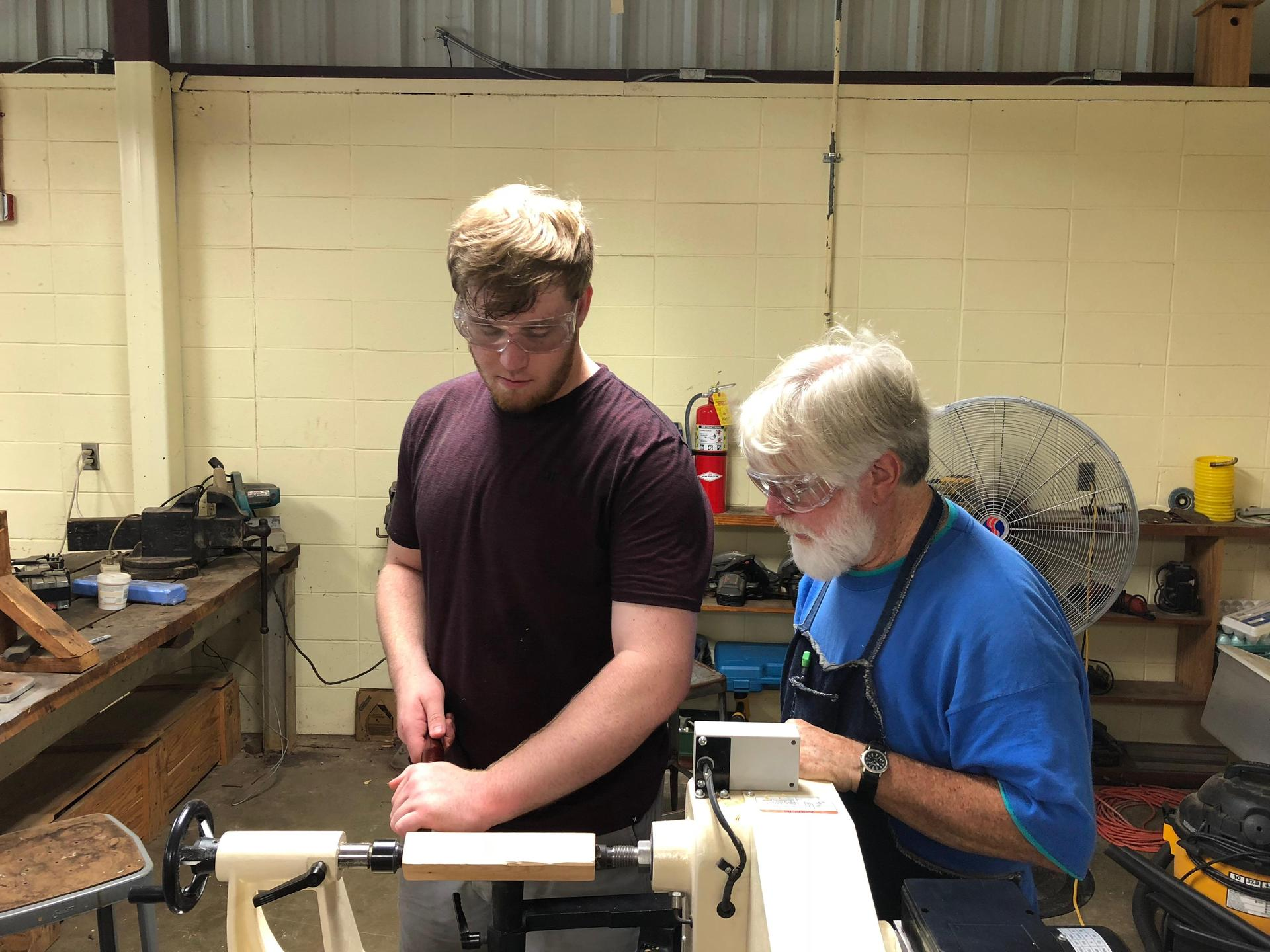 working with lathe