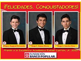 ¡Orgullosos de nuestros Conquistadores! - Gregory Hopgood '20, Diego Ramos '20 y Diego Sánchez '20 Thumbnail Image