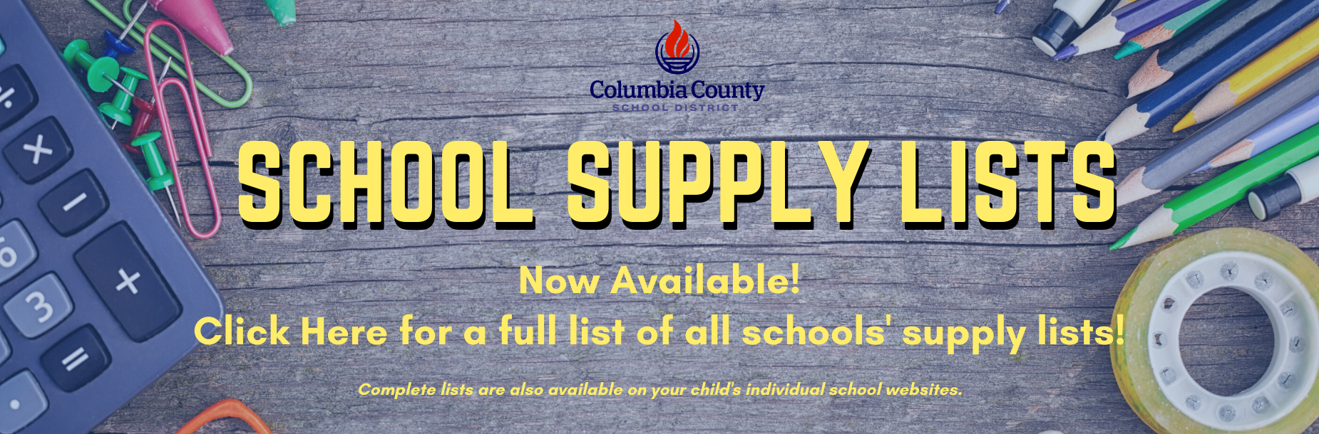 school supply list infographic