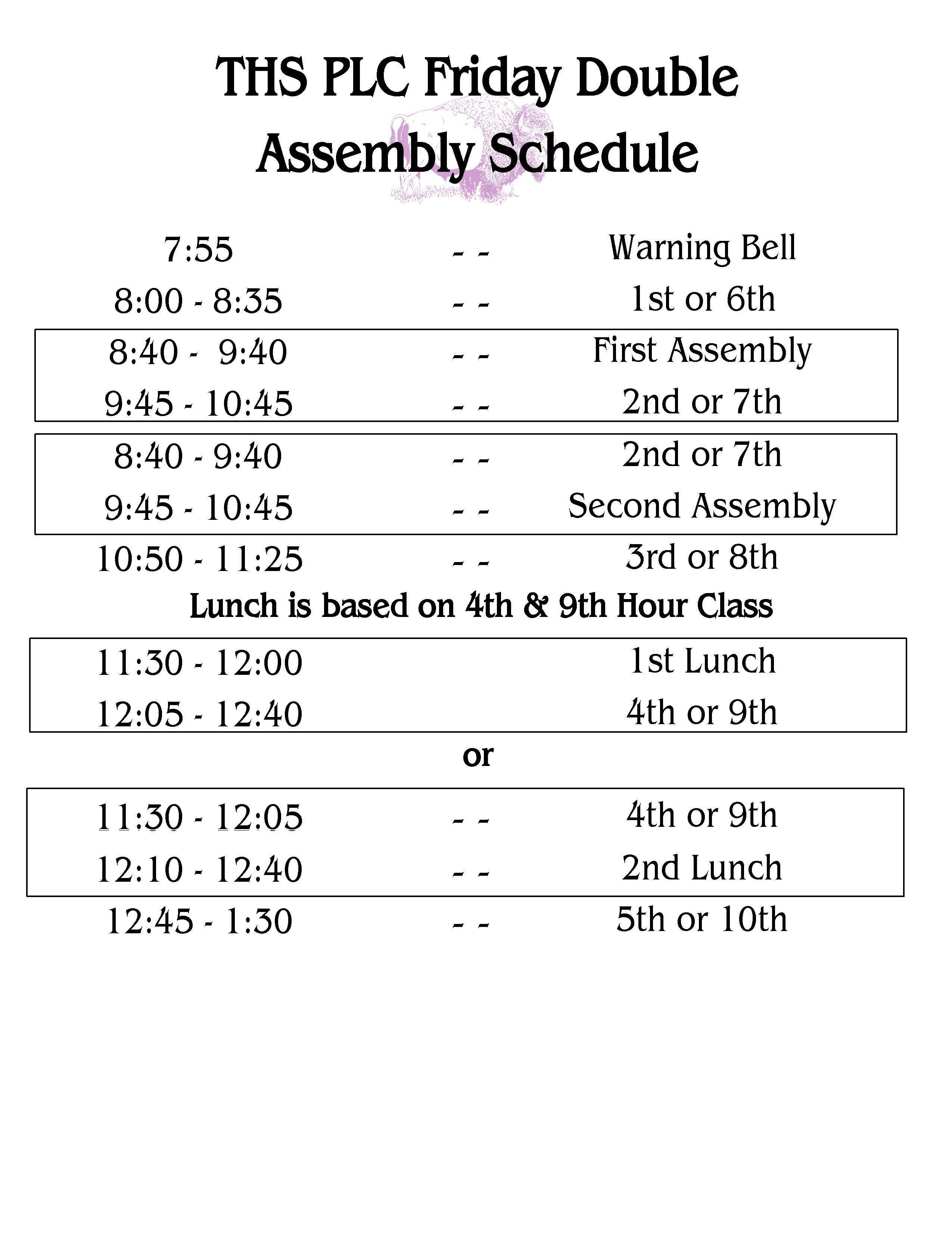 Friday Double Assembly Schedule