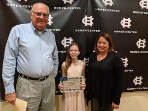 Riley Hartnett, Mr. Stofa and Mrs. Mateer, Wildcat Recognition Award