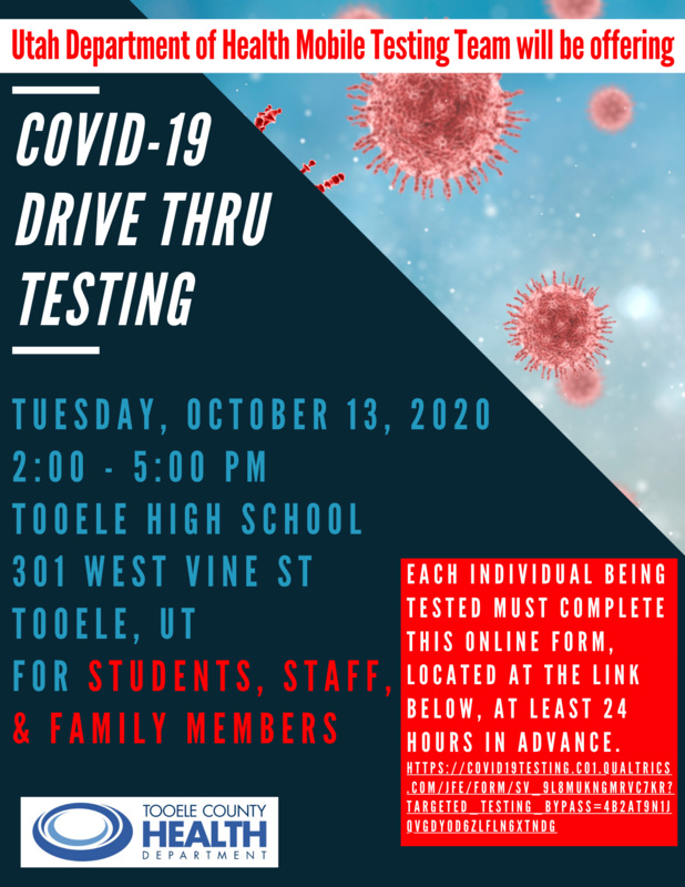 COVID-19 mobile testing lab October 13 at Tooele High School