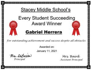 Every Student Succeeding Award winner