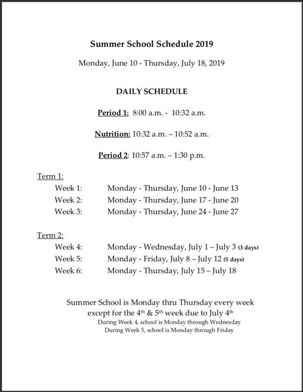Summer School Schedule 2019 Featured Photo