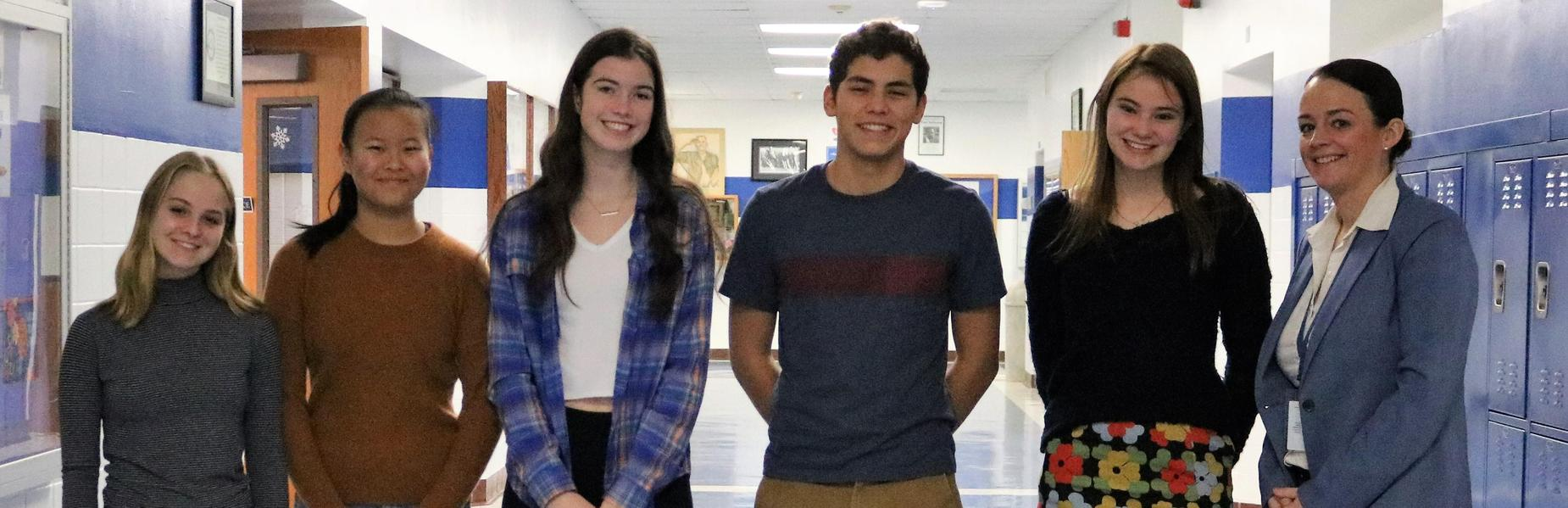 Photo of five WHS students who earned perfect scores on Oct and Nov ACT/SAT