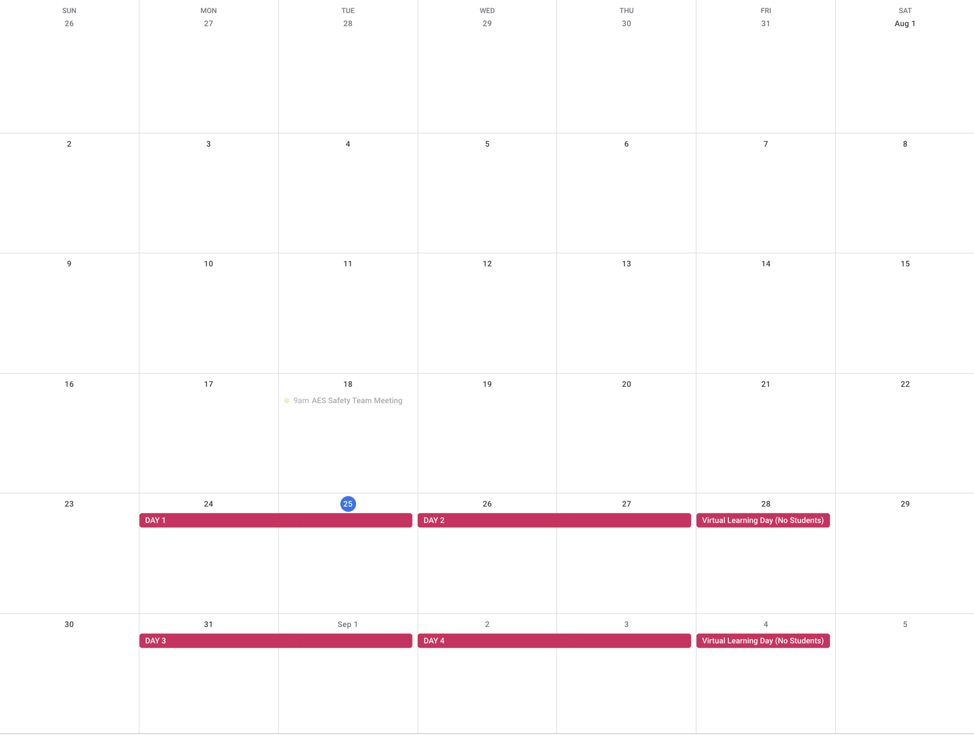 August Specials Rotation Calendar