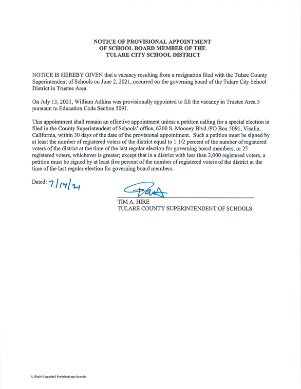 Notice of Provisional Appointment
