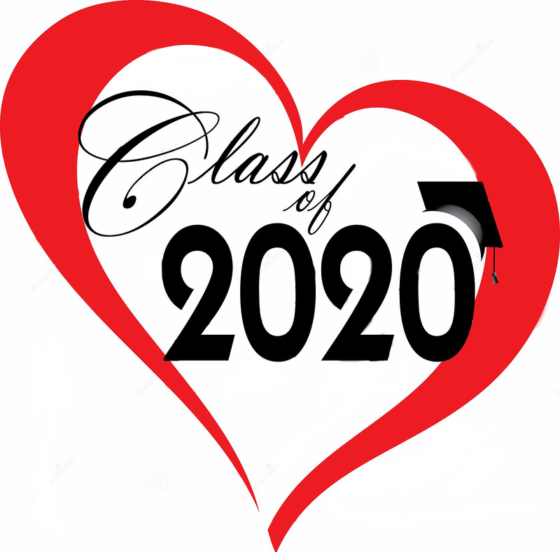 Class of 2020 written inside of red outlined heart