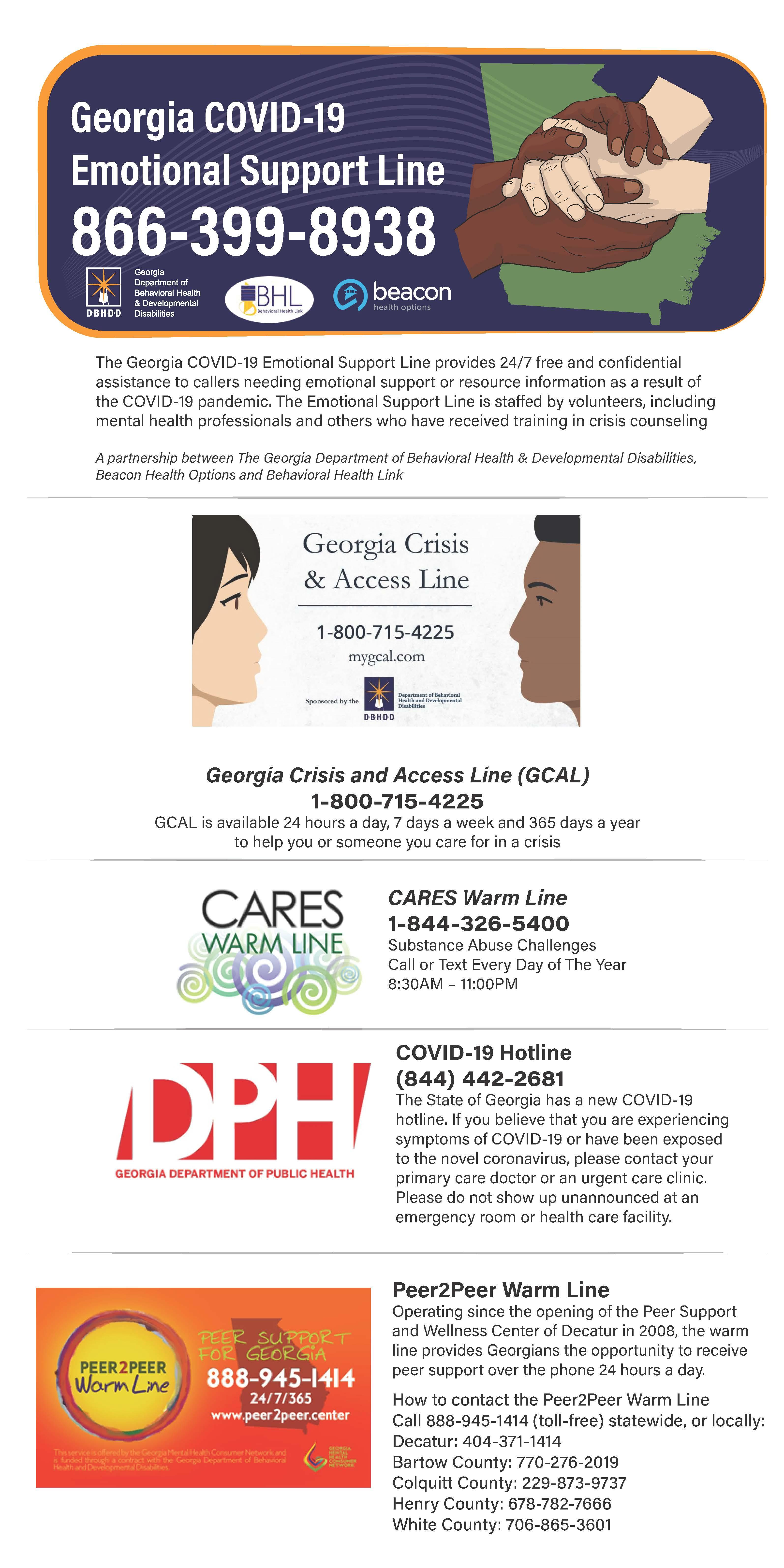 Georgia Emotional Support Line Information