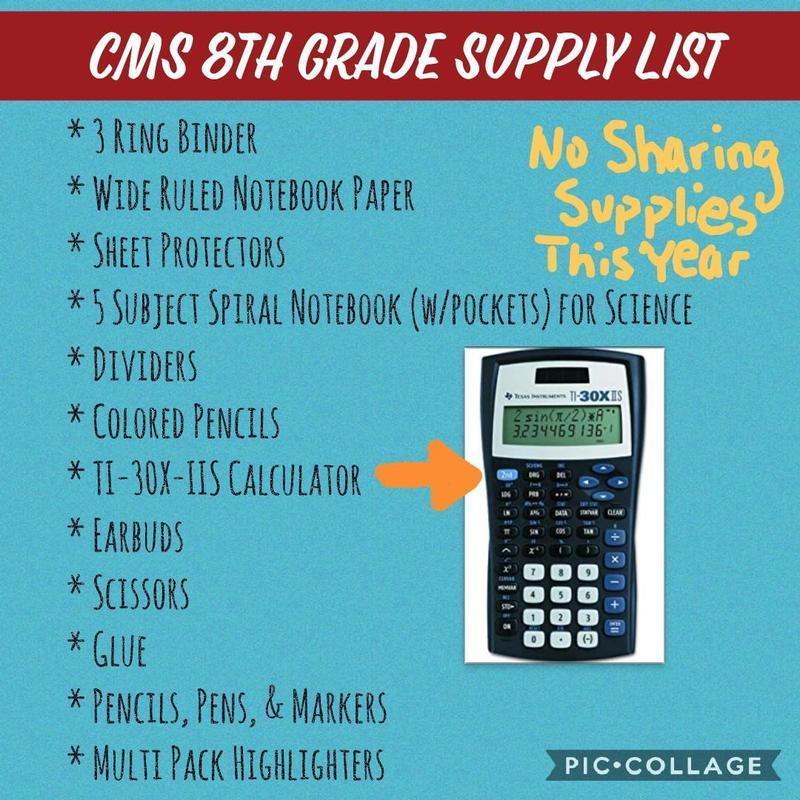 8th Grade Supply List 2020