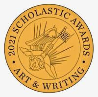 scholastic awards logo. Gold circle with black writing