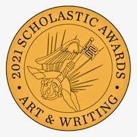 scholastic awards logo. Gold circle with black writing