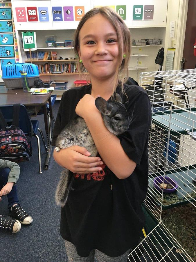 Sharing her family pet.