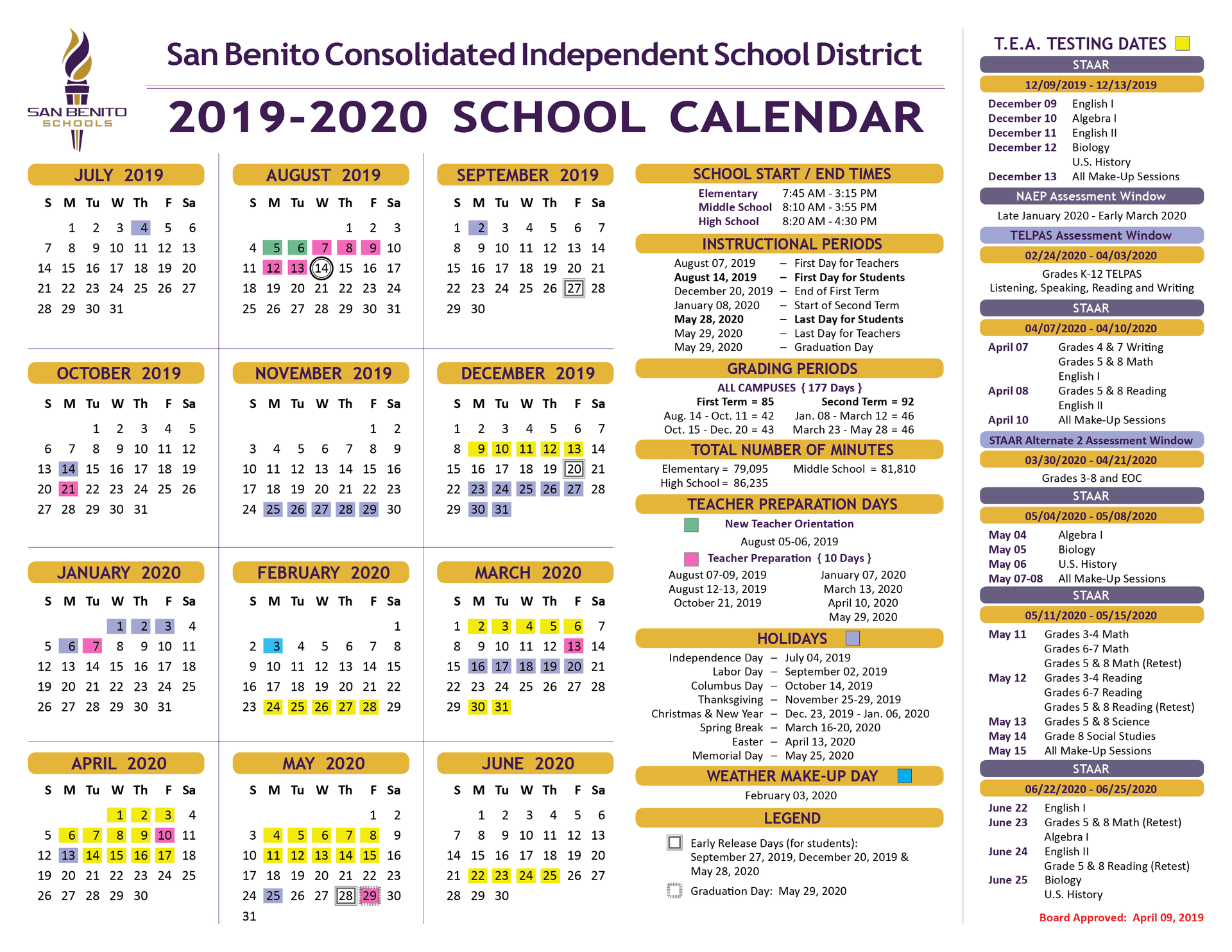 Cusd Calendar 2020 School Calendar – District – San Benito Consolidated Independent
