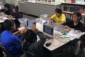 Students using Chromebooks for i-Ready