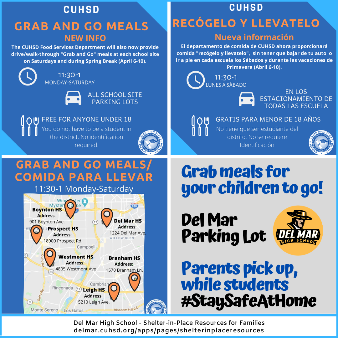 flyer promoting free meals to students during coronavirus, including saturdays and spring break