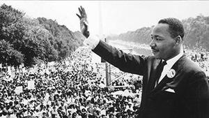 Martin Luther King addressing the crowd.