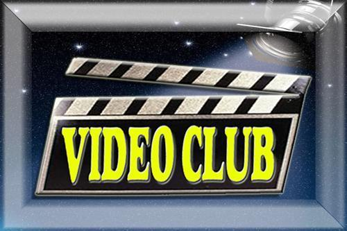 the word Video Club in yellow letters and black and white background
