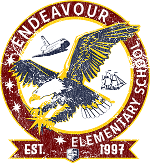 Logo of an Eagle, Shuttle and Sailing Ship named Endeavour