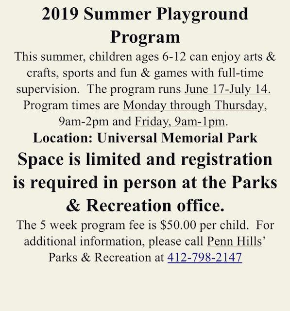 Summer Playground Program 2019