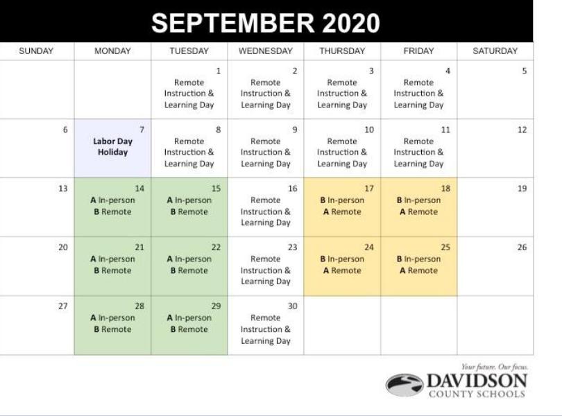 Remote Instruction Calendar