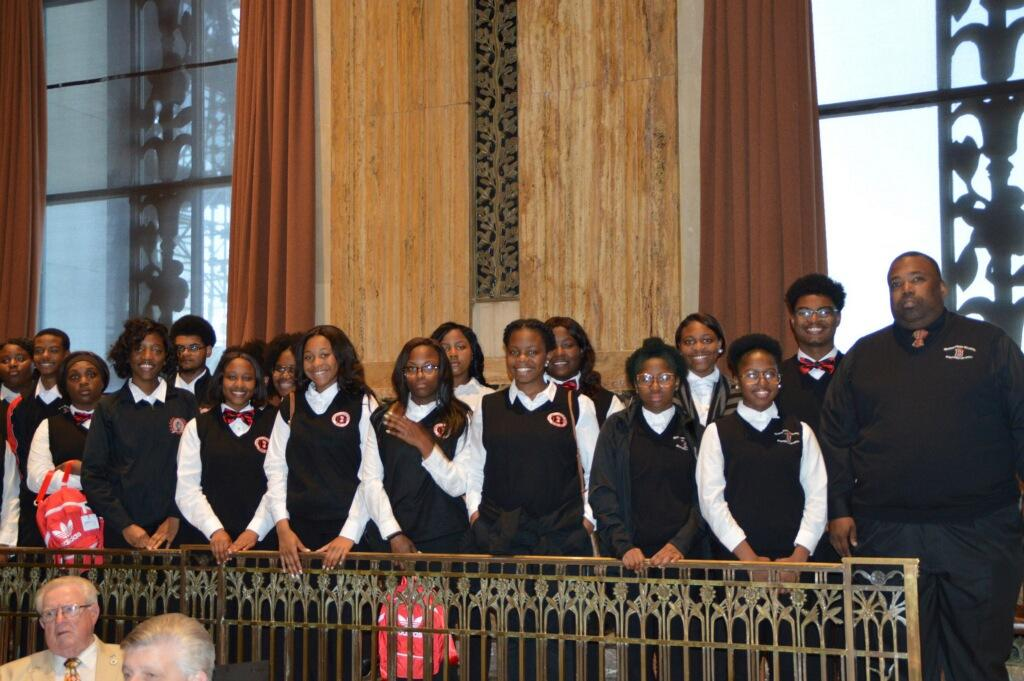 a photo of the Baker High School Symphonic Band at the Louisiana State Capital after receiving honor for representing the state at Carnegie Hall performance