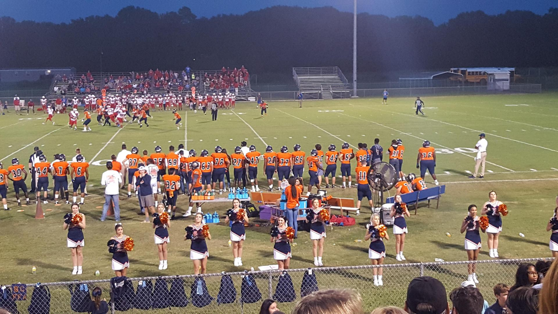 Cheerleaders performed at the Homecoming Game.