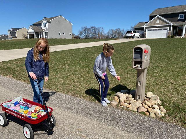 Chloe and Sophie share their painted rocks throughout their neighborhood.