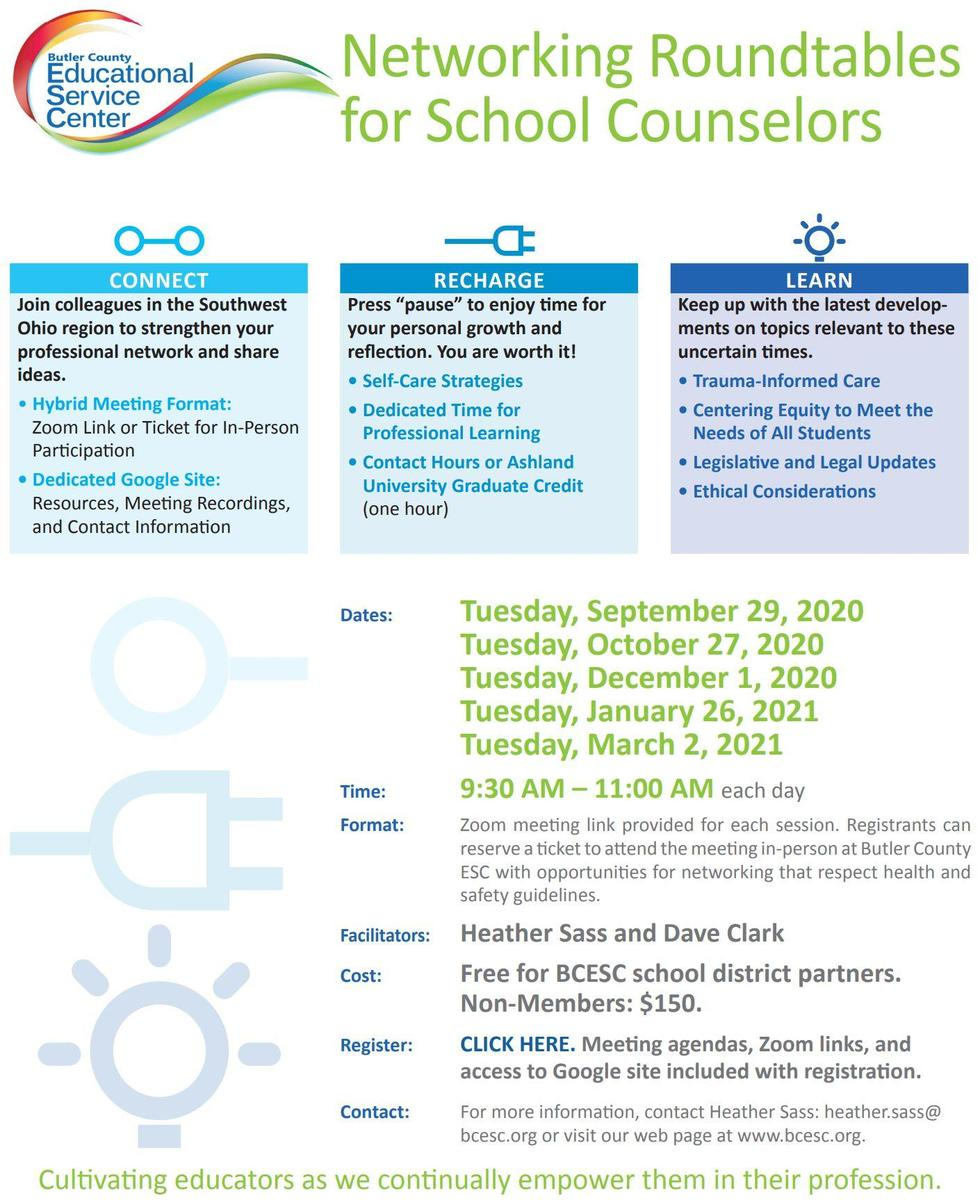 Networking Roundtable for Counselors Flyer